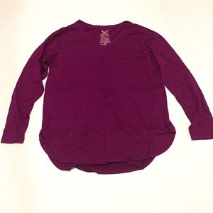 Faded Glory Berry Bright Womens Long Sleeve Top